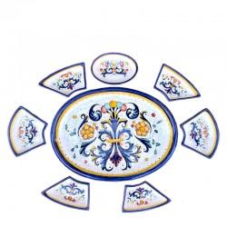 Antipastiera Ovale 8 Pezzi Ricco Deruta Blu Cm. 50