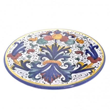 Sottopentola ceramica maiolica Deruta dipinto a mano rotondo decoro Ricco Deruta Blu