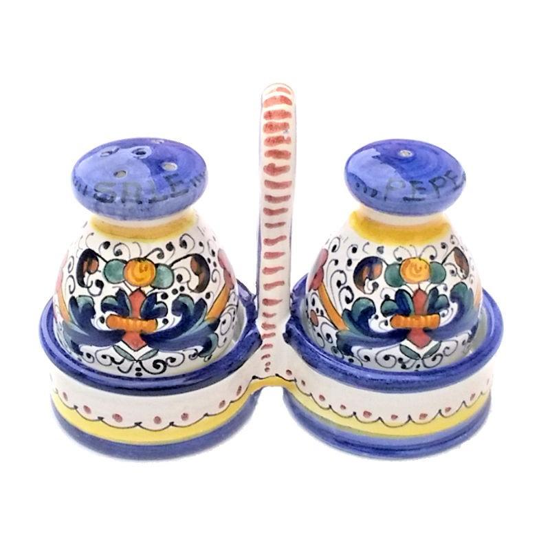 Set sale pepe ceramica maiolica Deruta dipinto a mano decoro ricco Deruta blu