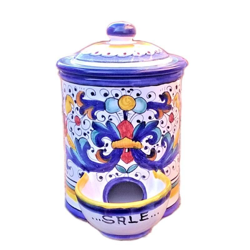 Barattolo porta sale ceramica maiolica Deruta dipinto a mano decoro Ricco Deruta Blu
