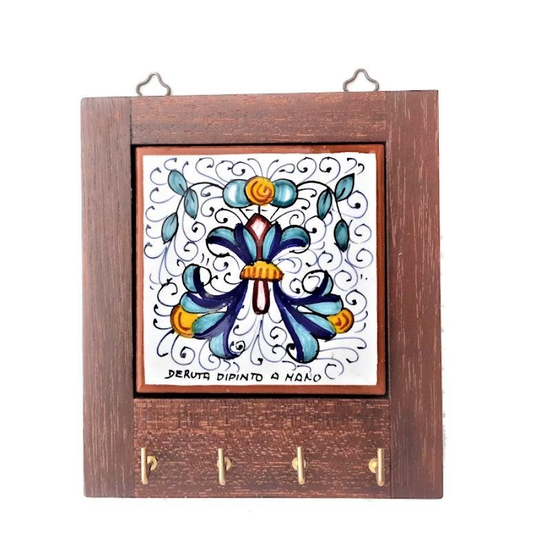 Appendino ceramica maiolica Deruta con cornice in legno decoro Ricco Deruta giallo Cm. 14