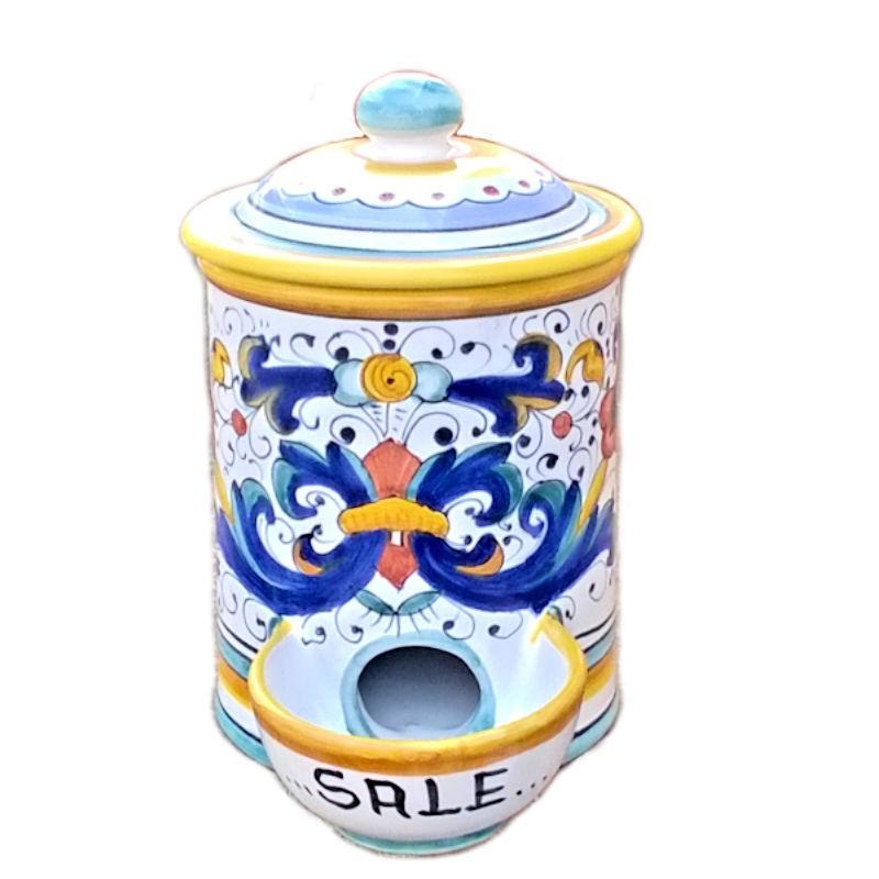 Barattolo porta sale ceramica maiolica Deruta dipinto a mano decoro Ricco Deruta Giallo
