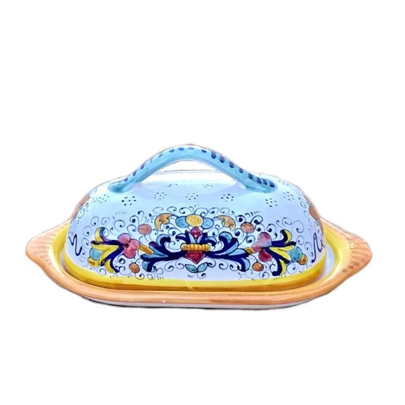 Burriera ceramica maiolica Deruta dipinta a mano decoro Ricco Deruta Giallo