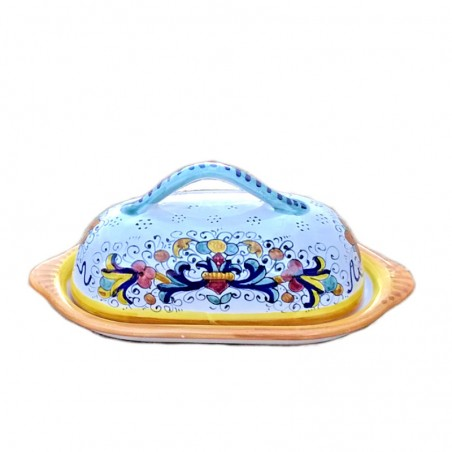 Deruta majolica butter dish hand painted with Rich Deruta Yellow decoration
