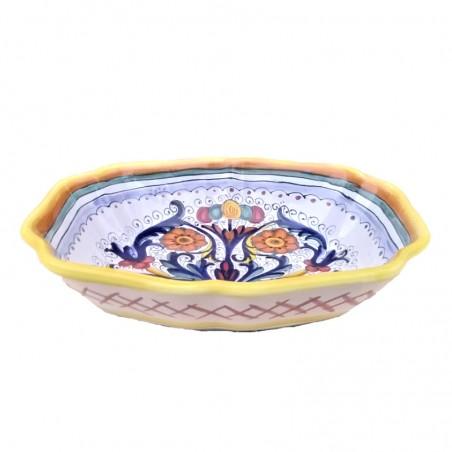 Legumiera Insalatiera ceramica maiolica Deruta dipinto a mano decoro Ricco Deruta giallo