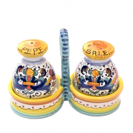 Set sale pepe ceramica maiolica Deruta dipinto a mano decoro ricco Deruta giallo