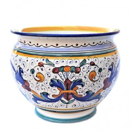 Porta vaso cachepot ceramica maiolica Deruta dipinto a mano decoro Ricco Deruta Blu