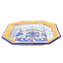 Piatto tavola ceramica maiolica Deruta dipinto a mano decoro Ricco Deruta blu ottagonale  Piatti da tavola-Fondo ottagonale cm. 23