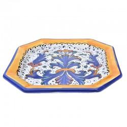Piatto tavola ceramica maiolica Deruta dipinto a mano decoro Ricco Deruta blu ottagonale  Piatti da tavola-Dessert ottagonale Cm. 20