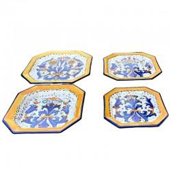 Servizio piatti tavola ceramica maiolica Deruta dipinto a mano decoro ricco Deruta blu ottagonali