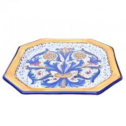 Piatto tavola ceramica maiolica Deruta dipinto a mano decoro Ricco Deruta blu ottagonale  Piatti da tavola-Sottopiatto ottagonale cm. 28