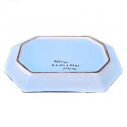 Vassoio ceramica maiolica Deruta dipinto a mano ottagonale decoro Ricco Deruta Blu