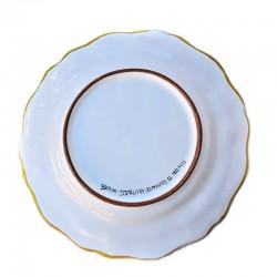 Piatto tavola ceramica maiolica Deruta dipinto a mano decoro ricco Deruta giallo smerlato