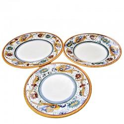 Servizio piatti tavola ceramica maiolica Deruta dipinto a mano decoro Raffaellesco