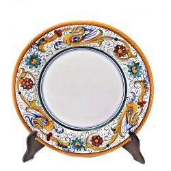 Piatto tavola ceramica maiolica Deruta dipinto a mano decoro Raffaellesco  Piatti da tavola-Piatto Piano Cm. 28,5
