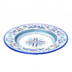 Piatto tavola ceramica maiolica Deruta dipinto a mano decoro Ricco Deruta blu centrino  Piatti da tavola-Piatto Fondo Cm. 25