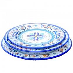 Servizio piatti tavola ceramica maiolica Deruta dipinto a mano decoro Ricco Deruta Blu centrino