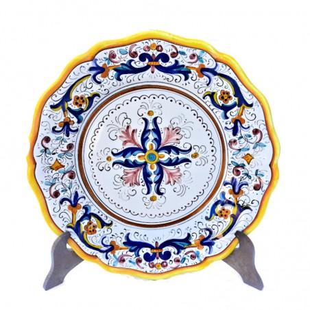 Piatto tavola ceramica maiolica Deruta dipinto a mano decoro ricco Deruta giallo centrino smerlato