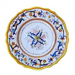 Piatto tavola ceramica maiolica Deruta dipinto a mano decoro ricco Deruta giallo centrino smerlato  Piatti da tavola-Piatto Fondo Cm. 25