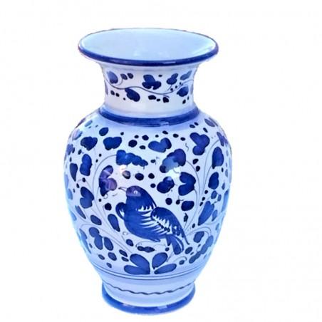 Vaso portafiori ceramica maiolica Deruta dipinto a mano decoro Arabesco Blu