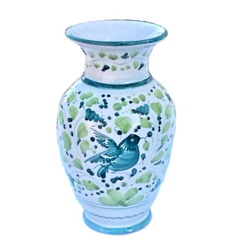 Vaso portafiori ceramica maiolica Deruta dipinto a mano decoro Arabesco Verde