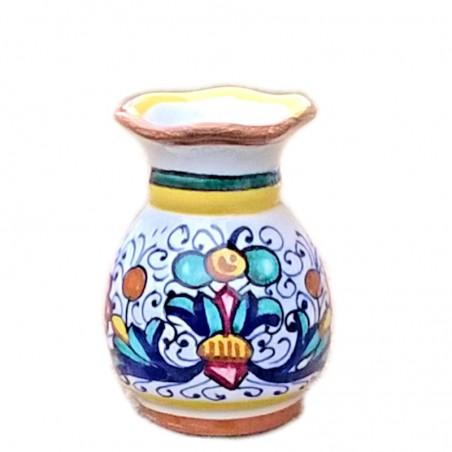 Vaso portafiori ceramica maiolica Deruta dipinto a mano decoro Ricco Deruta Giallo