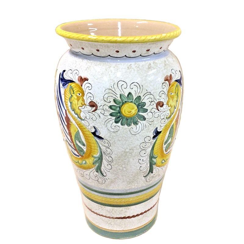 Portaombrelli ceramica maiolica Deruta dipinto a mano decoro Raffaellesco graffito