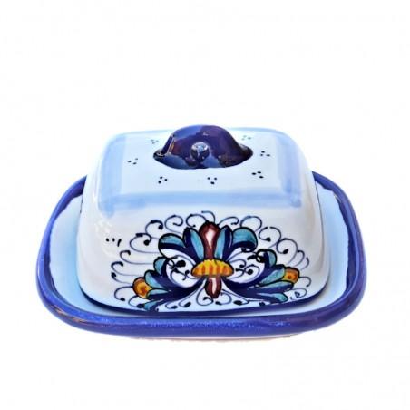 Burriera ceramica maiolica Deruta piccola dipinta a mano decoro ricco Deruta blu