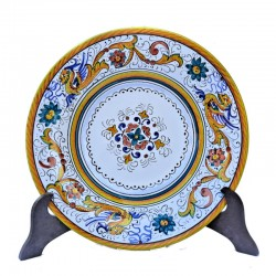 Piatto tavola ceramica maiolica Deruta dipinto a mano decoro Raffaellesco centrino  Piatti da tavola-Piatto Fondo Cm. 25