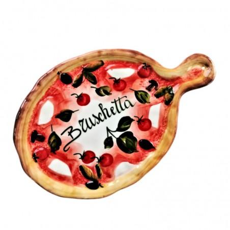 Tagliere vassoio ceramica Made in Italy dipinto a mano decoro bruschetta