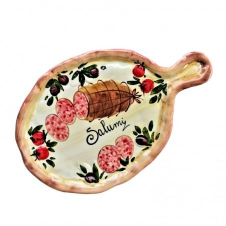 Tagliere vassoio ceramica Made in Italy dipinto a mano decoro salumi