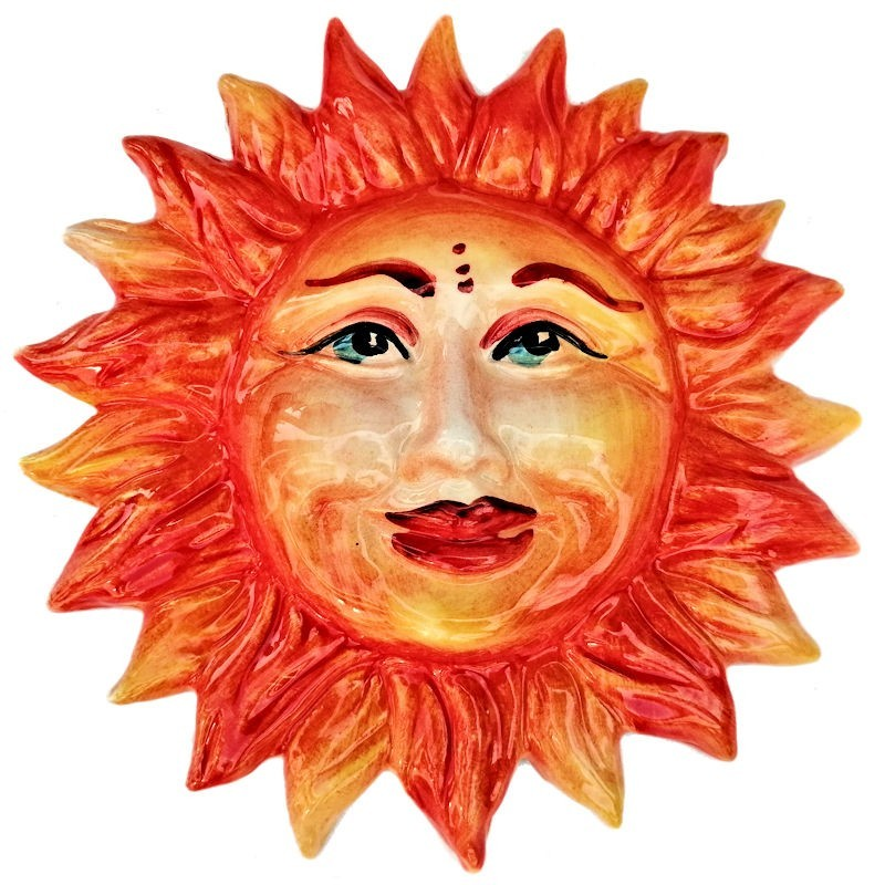 Sole in Ceramica dipinto a mano Made in Italy Cm. 20