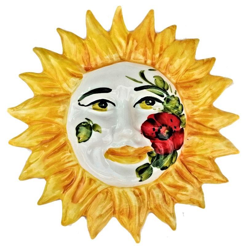 Sole ceramica dipinto a mano decoro papaveri Made in Italy Cm. 20