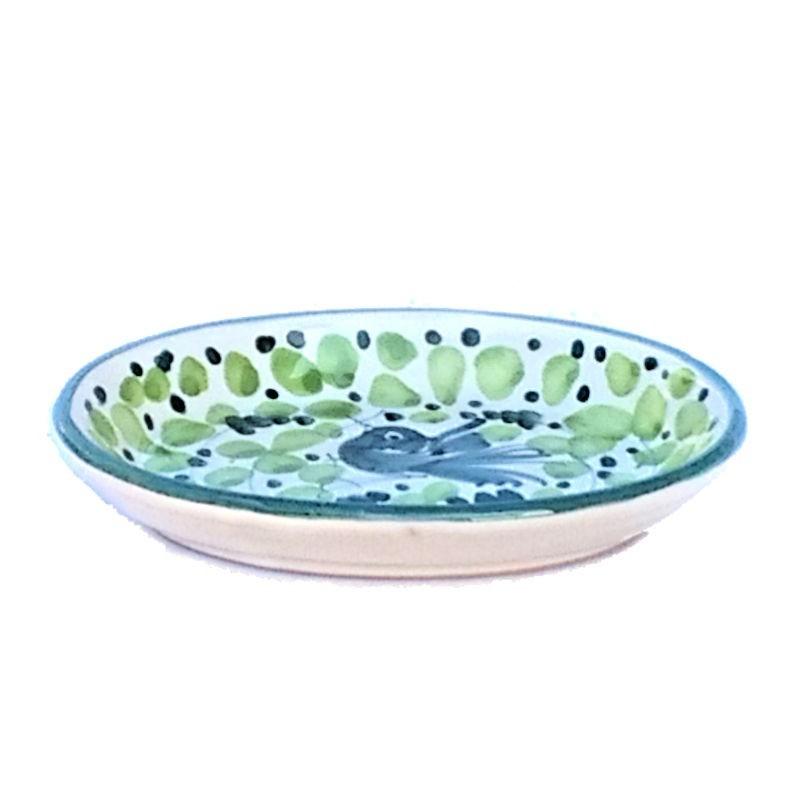 Soap dish Deruta majolica ceramic hand painted green Arabesque decoration oval