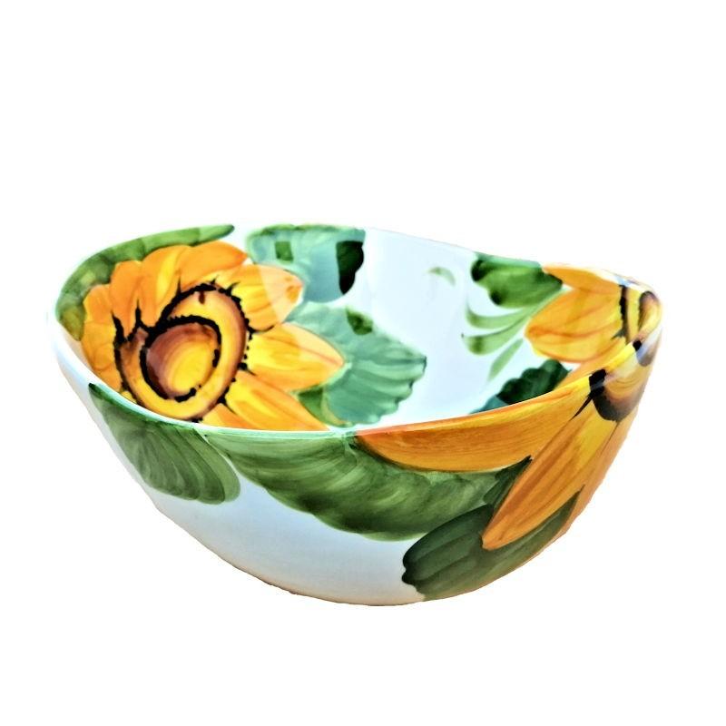 Bolo Insalatiera ceramica Made in Italy dipinto a mano decoro girasole