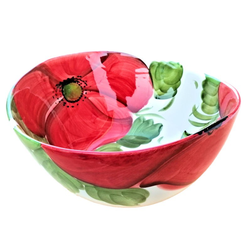 Bolo Insalatiera ceramica Made in Italy dipinto a mano decoro papaveri