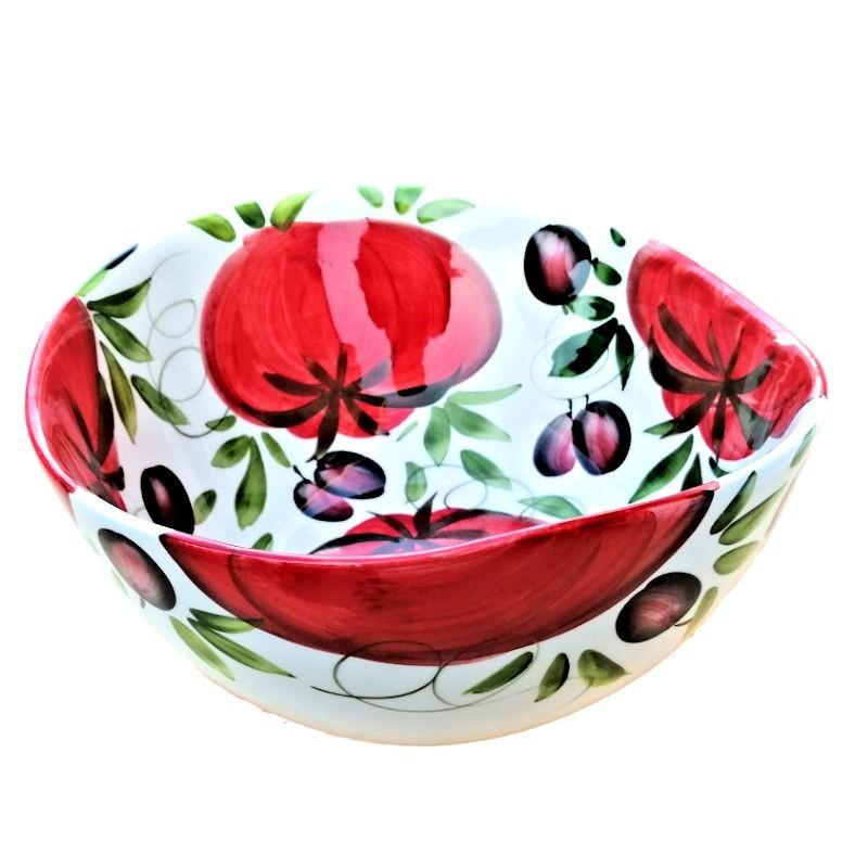 Bolo Insalatiera ceramica Made in Italy dipinto a mano decoro pomodori e olive