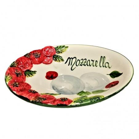 Vassoio ceramica Made in Italy dipinto a mano decoro mozzarella ovale