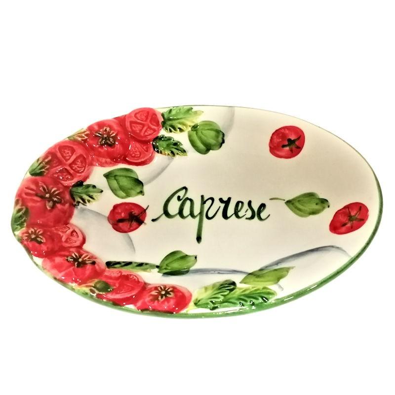 Vassoio ceramica Made in Italy dipinto a mano decoro caprese ovale