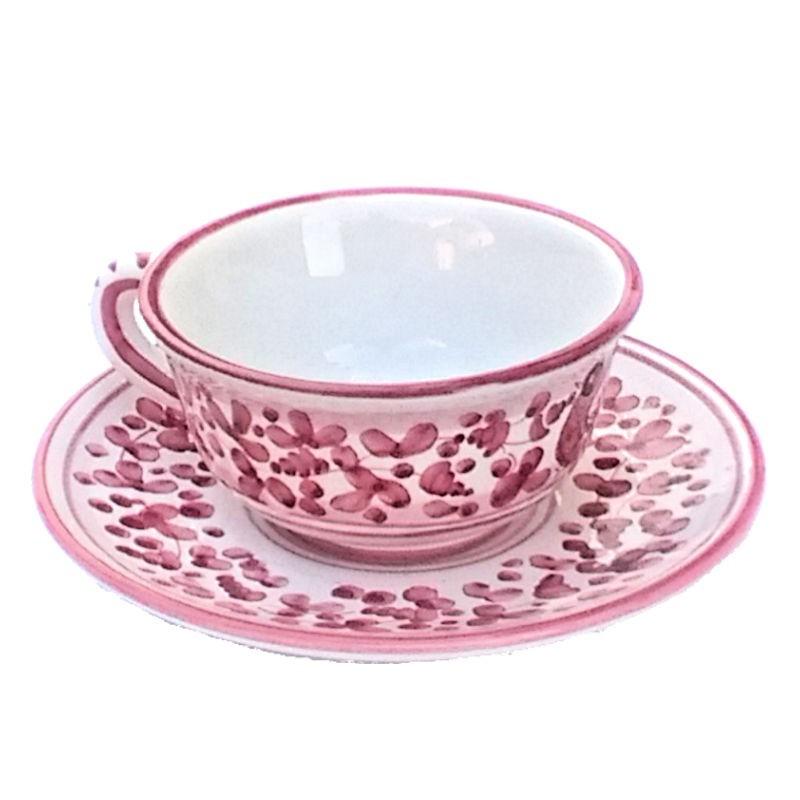 Tazza Te ceramica maiolica Deruta con piatto dipinta a mano decoro arabesco rosso CC 210