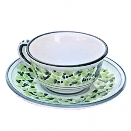Tazza Te ceramica maiolica Deruta con piatto dipinta a mano decoro arabesco verde CC 210