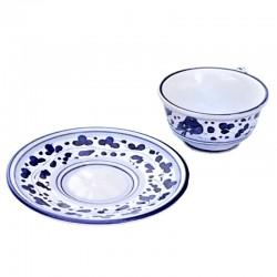 Tazza Te ceramica maiolica Deruta con piatto dipinta a mano decoro arabesco blu CC 210