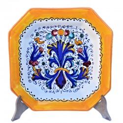 Piatto tavola ceramica maiolica Deruta dipinto a mano decoro Ricco Deruta giallo ottagonale  Piatti da tavola-Fondo ottagonale cm. 23