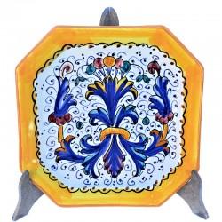 Piatto tavola ceramica maiolica Deruta dipinto a mano decoro Ricco Deruta giallo ottagonale  Piatti da tavola-Dessert ottagonale Cm. 20