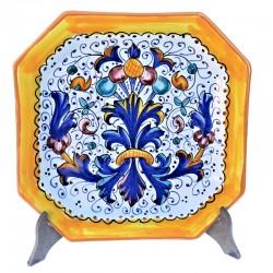 Piatto tavola ceramica maiolica Deruta dipinto a mano decoro Ricco Deruta giallo ottagonale  Piatti da tavola-Piano ottagonale cm. 24