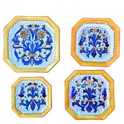 Servizio piatti tavola ceramica maiolica Deruta dipinto a mano decoro ricco Deruta giallo ottagonali