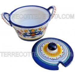Formaggiera ceramica maiolica Deruta dipinta a mano decoro Ricco Deruta Blu