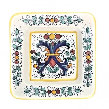 Piatto vassoio ceramica maiolica Deruta dipinto a mano quadrato decoro Ricco Deruta Giallo