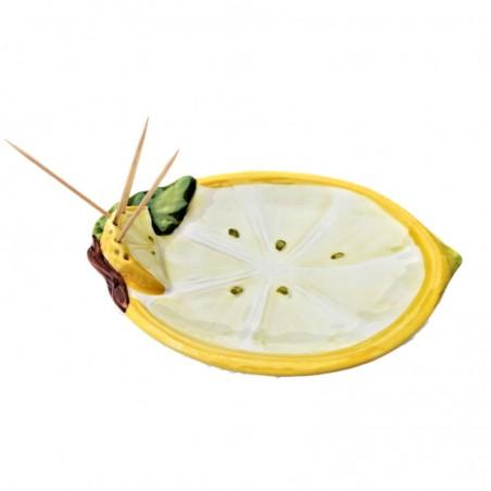 Vassoio porta limone stecchini ceramica Made in Italy dipinto a mano decoro fetta limone