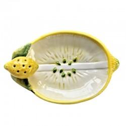 Vassoio porta limone stecchini ceramica Made in Italy dipinto a mano decoro limone rilievo